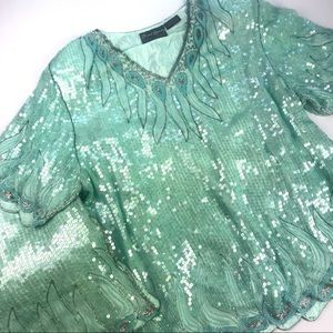 VINTAGE Bling Party Outfit 100% Silk Sequins/Beads